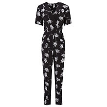 Buy Warehouse Stencil Floral Jumpsuit, Black Online at johnlewis.com