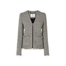 Buy L.K. Bennett Nessa Tweed Zip Jacket, Black/Cream Online at johnlewis.com