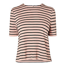 Buy L.K. Bennett Daphne Stripe Ribbed Top, Pink Online at johnlewis.com