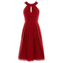 Buy Karen Millen Broderie Dress, Burnt Orange Online at johnlewis.com