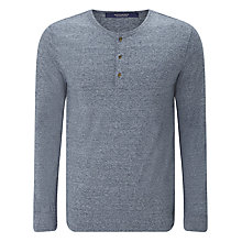 Buy Scotch & Soda Long Sleeve Grandad T-Shirt, Denim Blue Melange Online at johnlewis.com