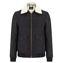 Buy Scotch & Soda Leather Bomber Jacket, Night Online at johnlewis.com