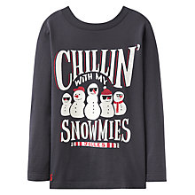 Buy Little Joule Boys' Junior Finlay Snowman T-Shirt, Slate Grey Online at johnlewis.com