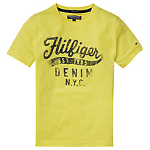 Buy Tommy Hilfiger Boys' Organic Cotton Printed T-Shirt, Lemon Online at johnlewis.com