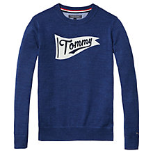 Buy Tommy Hilfiger Boys' Intarsia Crew Neck Jumper, Navy Online at johnlewis.com