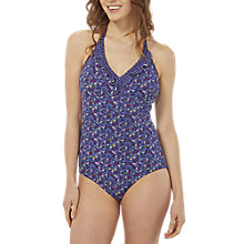 Buy White Stuff Floral Shell Swimsuit, Wash Blue Online at johnlewis.com