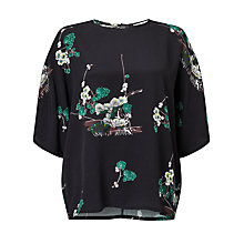 Buy Samsoe & Samsoe Mine Japanese Print Top, Hana Dark Online at johnlewis.com