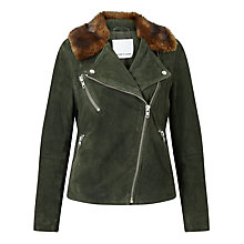 Buy Samsoe & Samsoe Elben Goat Suede Biker Jacket, Rosin Online at johnlewis.com