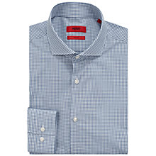 Buy HUGO by Hugo Boss C-Jason Mini Gingham Slim Fit Cotton Shirt, Open Blue Online at johnlewis.com