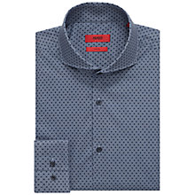 Buy HUGO by Hugo Boss C-Dwayne Square Print Slim Fit Shirt, Navy Online at johnlewis.com