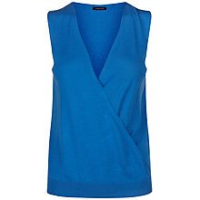 Buy Jaeger Silk Cotton Knitted Wrap Top, Bright Blue Online at johnlewis.com