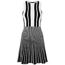 Buy Jaeger Striped Compact Knitted Dress, Black/White Online at johnlewis.com