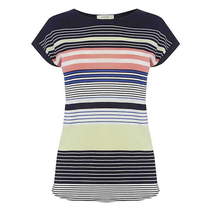 Buy Oasis Sashiko Stripe T-Shirt, Multi, XS Online at johnlewis.com