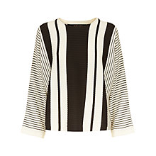 Buy Jaeger Wool Striped Cropped Sweater, Black/White Online at johnlewis.com