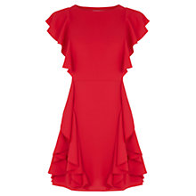 Buy Oasis Side Frill Skater Dress, Mid Red Online at johnlewis.com