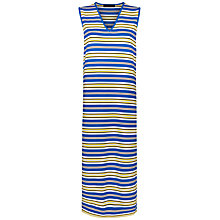 Buy Jaeger Stripe Split Hem Dress, White/Yellow Online at johnlewis.com