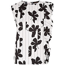 Buy Jaeger Ruffle Detail Floral Print Top, Ivory/Black Online at johnlewis.com
