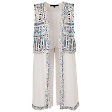 Buy French Connection Island Maze Embellished Waistcoat, Salt Water Blue Online at johnlewis.com