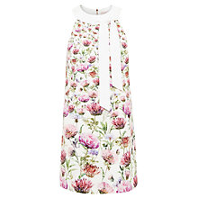 Buy Ted Baker Thistle Print Neck Tie Tunic Dress, Cream Online at johnlewis.com
