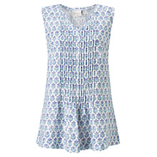 Buy East Lilith Pintuck Sleeveless Top, Blue/White Online at johnlewis.com