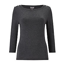 Buy Phase Eight Editta Button Top, Charcoal Marl Online at johnlewis.com