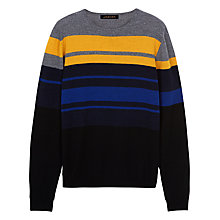 Buy Jaeger Colour Block Jumper, Mustard/Blue/Black Online at johnlewis.com