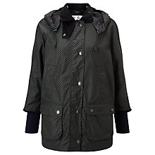 Buy Barbour Heritage Wax Hooded Coat, Navy Spot Print Online at johnlewis.com