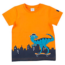 Buy Polarn O. Pyret Boys' Dino Skater Top, Orange Online at johnlewis.com