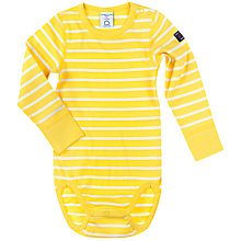 Buy Polarn O. Pyret Baby Striped Bodysuit, Yellow Online at johnlewis.com