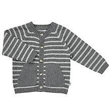 Buy Wheat Baby Striped Knitted Cardigan, Grey Online at johnlewis.com