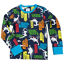 Buy Polarn O. Pyret Boys' Dino Town Top, Blue Online at johnlewis.com