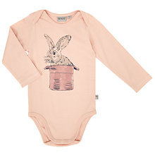 Buy Wheat Baby Long Sleeve Bunny Print Bodysuit, Pink Online at johnlewis.com
