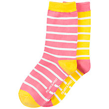 Buy Polarn O. Pyret Girls' Striped Socks, Pack of 2, Multi Online at johnlewis.com