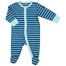 Buy Polarn O. Pyret Baby Striped Sleepsuit, Blue Online at johnlewis.com