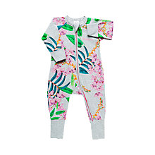 Buy Bonds Baby Exotica Floricca Zip Sleepsuit, Grey/Multi Online at johnlewis.com