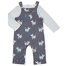 Buy John Lewis Baby Leopard Dungaree and Top Set, Charcoal Grey Online at johnlewis.com