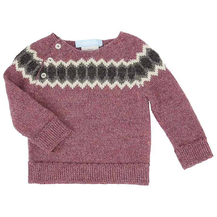 Buy Serendipity Baby Llama Wool Print Jumper, Berry, 1 months Online at johnlewis.com