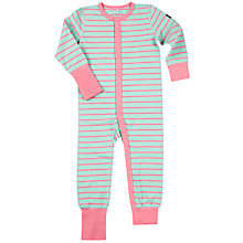 Buy Polarn O. Pyret Baby Striped Sleepsuit, Green/Pink Online at johnlewis.com
