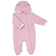 Buy John Lewis Baby Quilted Pramsuit, Pink Online at johnlewis.com