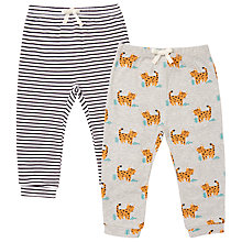Buy John Lewis Baby Leopard and Striped Trousers, Pack of 2, Grey Marl Online at johnlewis.com