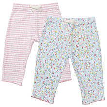 Buy John Lewis Baby Floral Trousers, Pack of 2, Pink/White Online at johnlewis.com