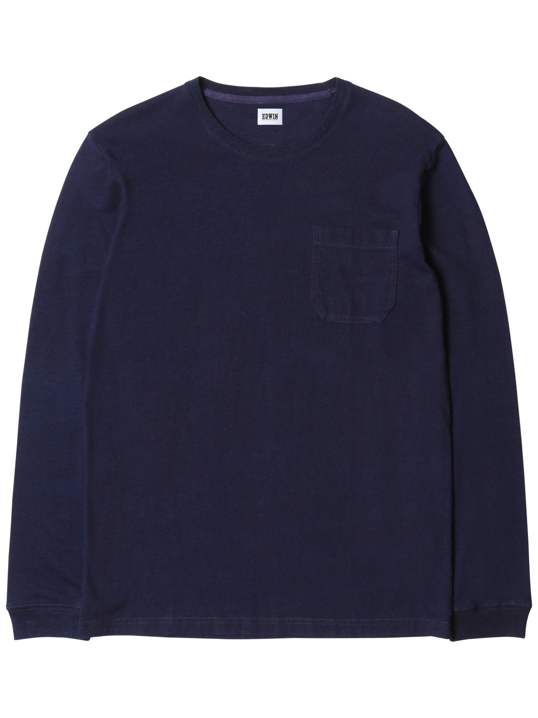 Edwin Edwin Marvin Long Sleeve T-Shirt, Dark Indigo
