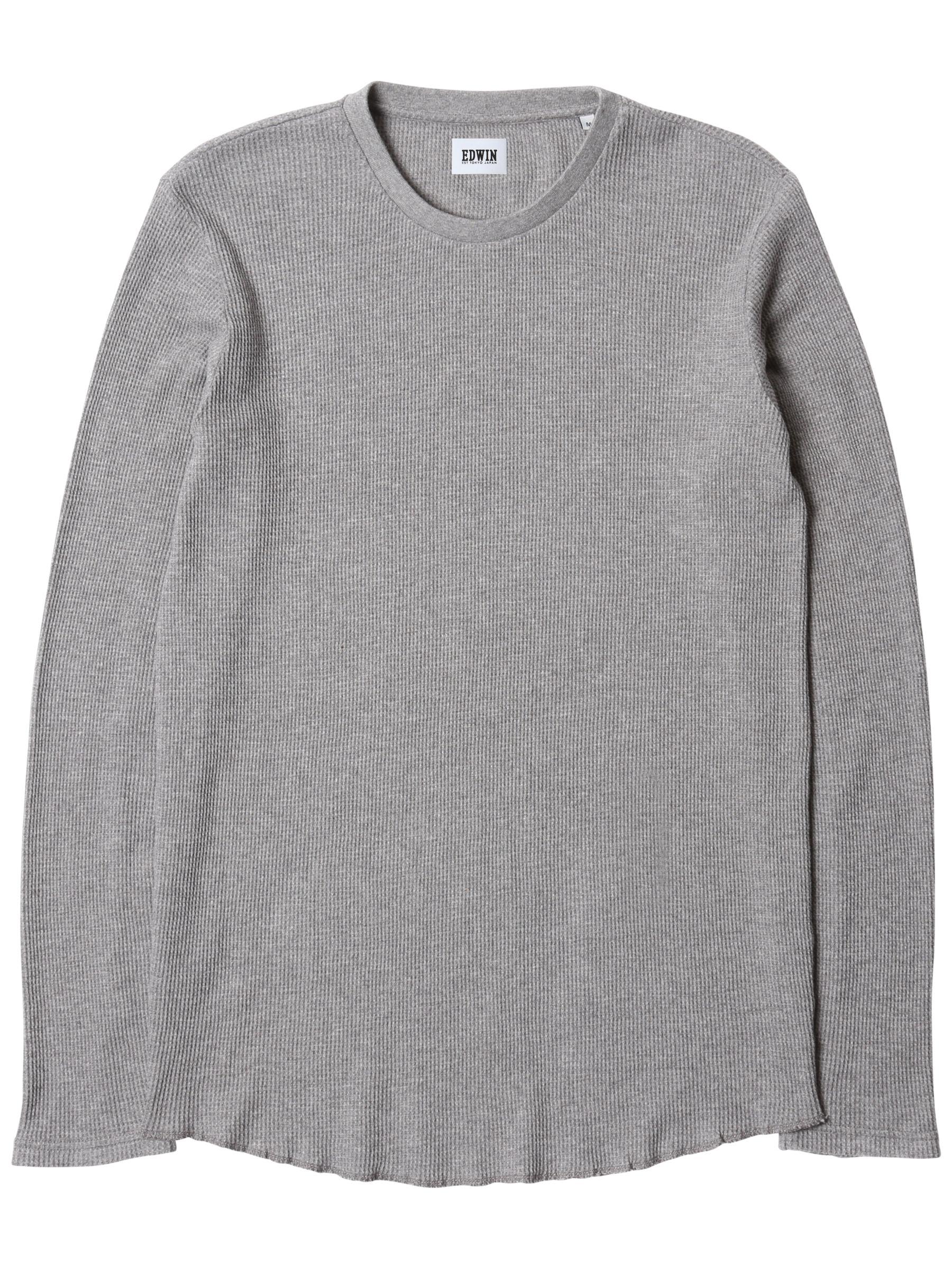 Edwin Edwin Waffle Long Sleeve T-Shirt, Mid Grey Marl