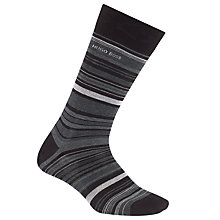 Buy BOSS Stripe Mercerised Cotton Socks, Black/Grey Online at johnlewis.com