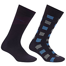 Buy BOSS Design Block Socks, Pack of 2, Navy Online at johnlewis.com
