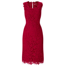 Buy Jacques Vert V-Neck Lace Dress, Dark Red Online at johnlewis.com