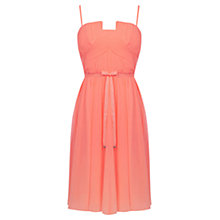 Buy Oasis Pleat Bandeau Skater Dress, Neon Orange Online at johnlewis.com