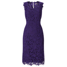 Buy Jacques Vert V-Neck Lace Dress, Mid Purple Online at johnlewis.com