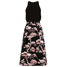 Buy Warehouse Oriental Forest Midi Dress, Black Online at johnlewis.com