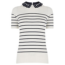 Buy Oasis Stripe Lace Collar Knit Top, Multi Online at johnlewis.com